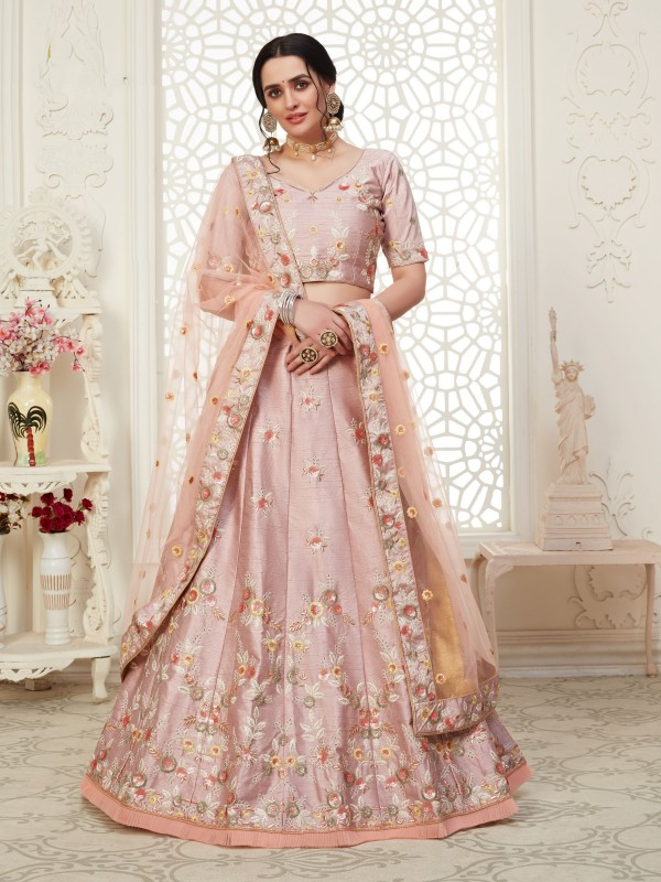 Soft Silk Party Wear Lehenga Pink Color With Embroidery Work