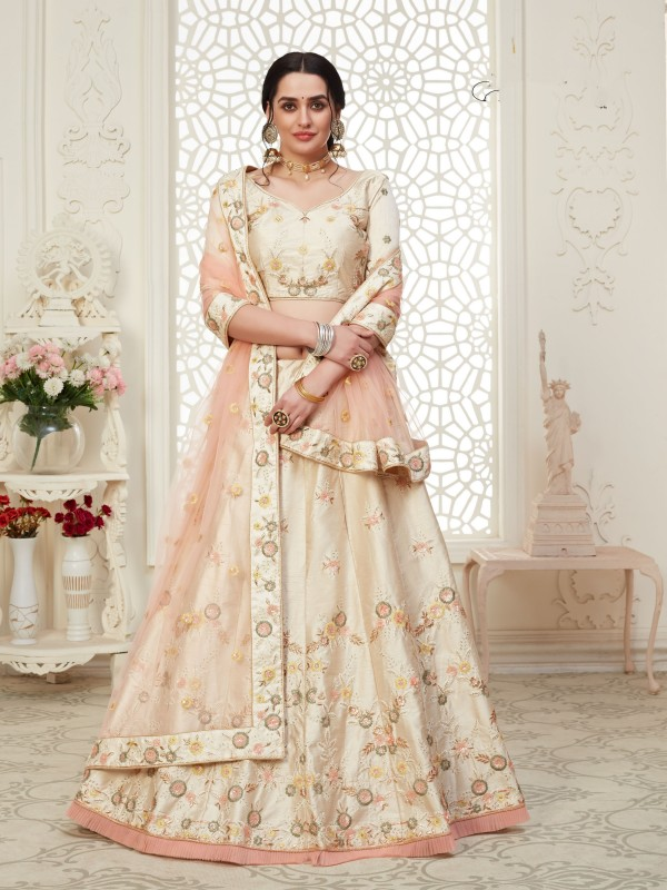 Soft Silk Party Wear Lehenga Beige Color With Embroidery Work