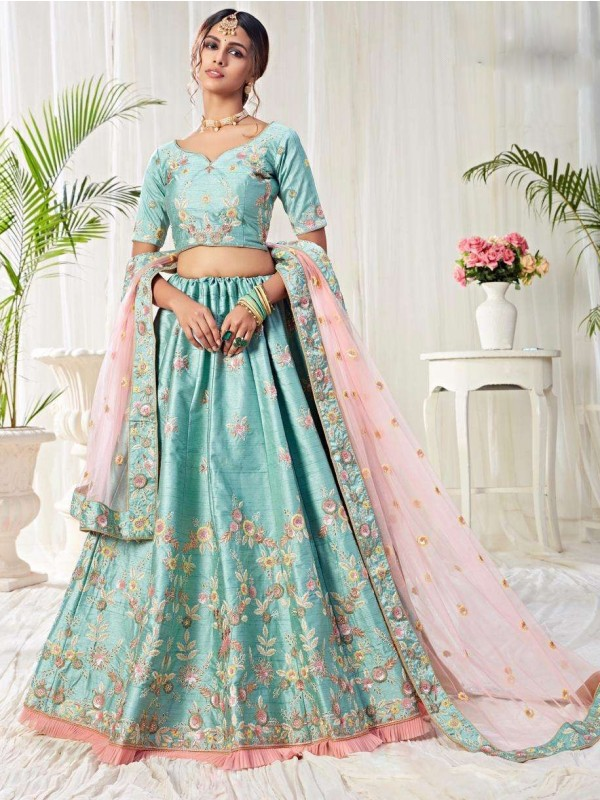 Soft Silk Party Wear Lehenga  Sky Blue Color With Embroidery Work