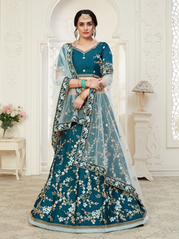 Soft Silk Party Wear Lehenga  Blue Color With Embroidery Work