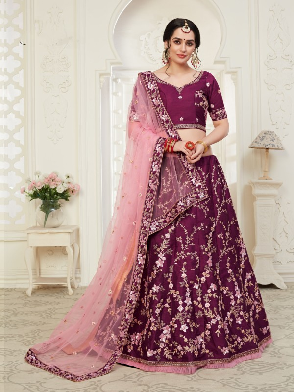 Soft Silk Party Wear Lehenga  Magenta  Color With Embroidery Work