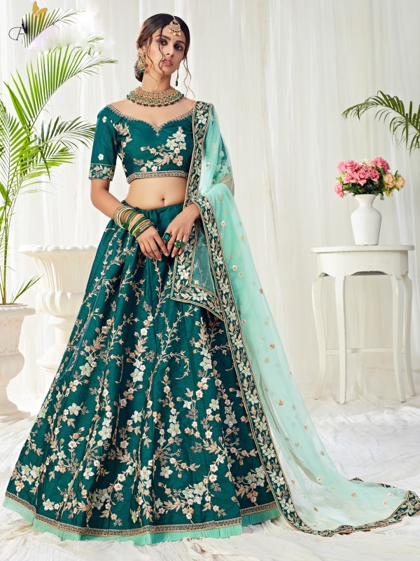 Soft Silk Party Wear Lehenga  Green Color With Embroidery Work