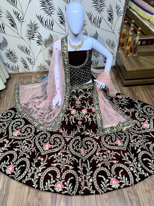 Velvet Bridal Lehenga In Maroon Color With Sequence Work