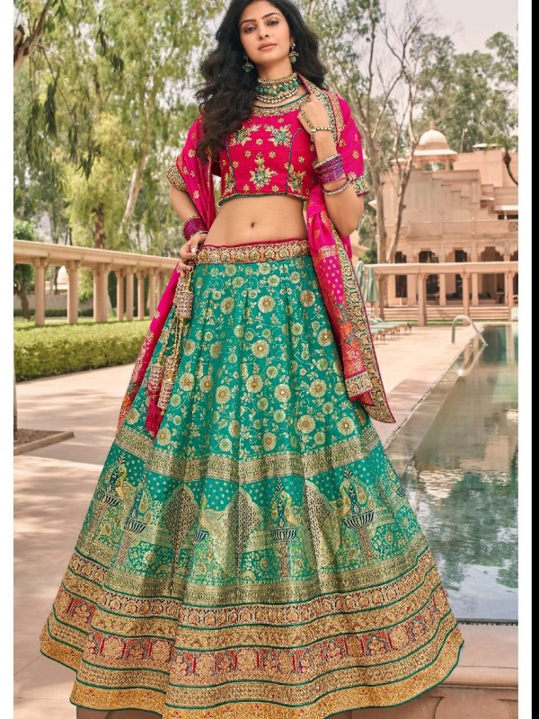 Pure Banarasi Silk Wedding Lehenga in Turquoise  Color With Embroidery  work