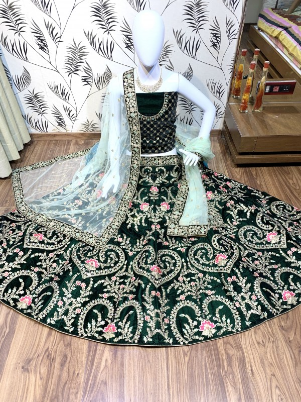 Velvet Bridal Lehenga In Green Color With Sequence Work