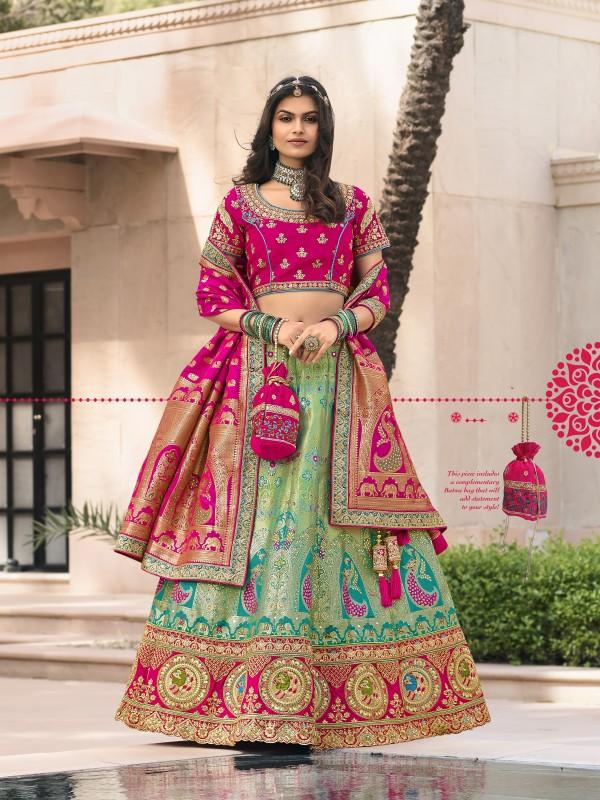 Pure Banarasi Silk Wedding Lehenga in Turquoise & Pink Color With Embroidery  work