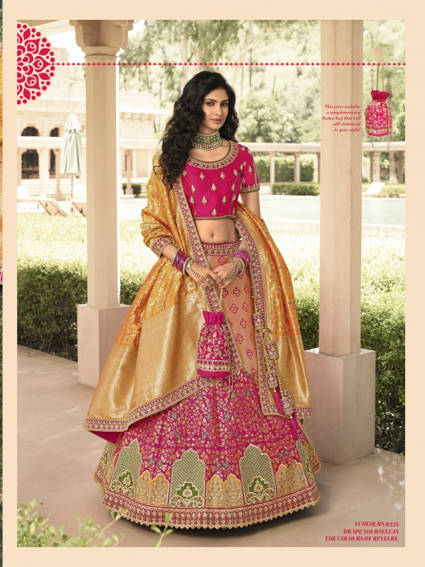 Pure Banarasi Silk Wedding Lehenga in Mustard & Pink Color With Embroidery  work