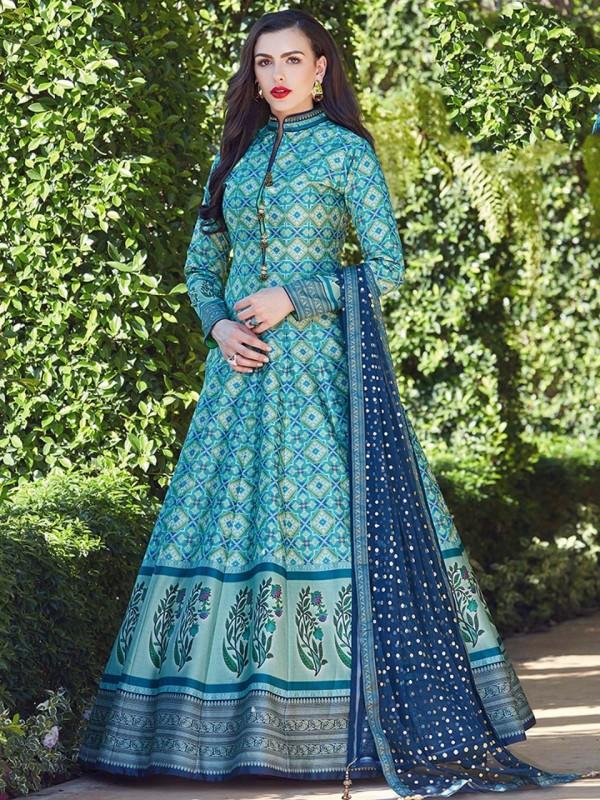 Heavy Soft Killer Silk  Party Wear Gown In Blue