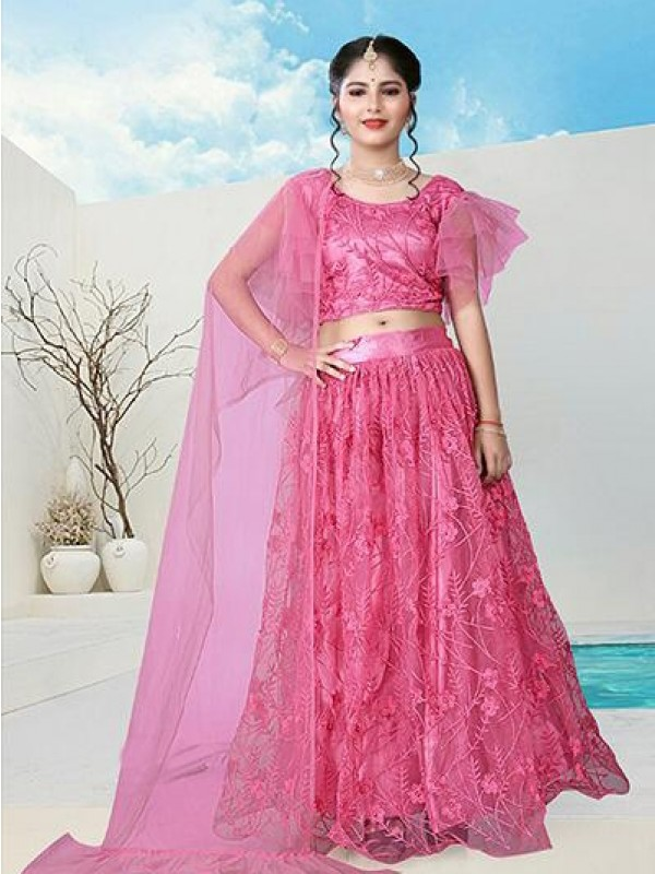 Soft Premium Net  Party Wear Kids Lahenga  In Pink Color WIth Embrodiey Work & Stone Work