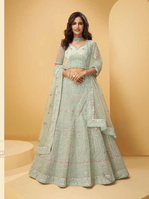 Soft Premium Net  Party Wear Lehenga In Glacial Green With Embroidery Work