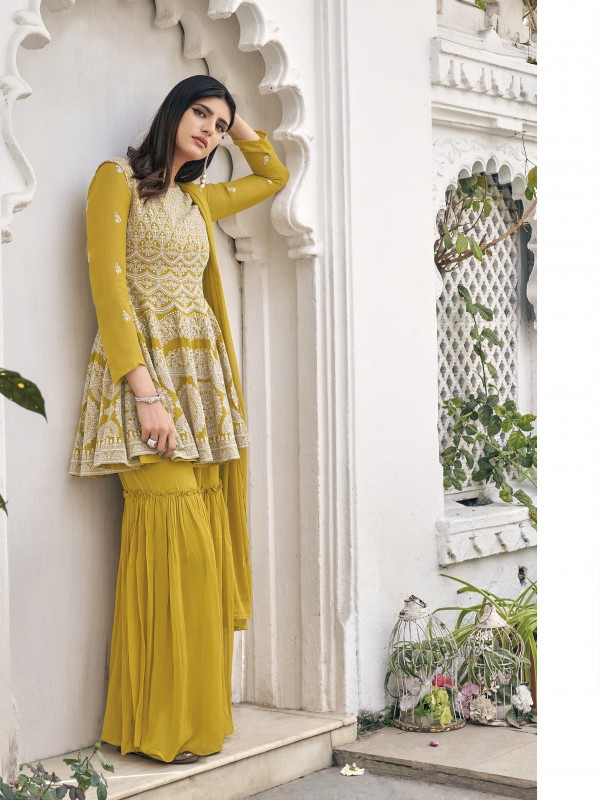Pure Viscose Georgette Party Wear Sarara in Mustard Color with  Embroidery Work