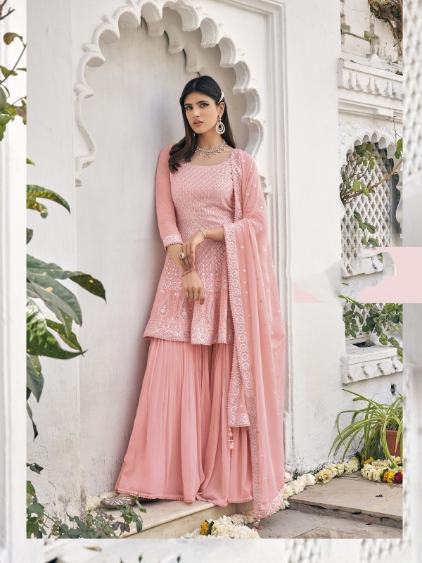 Pure Viscose Georgette Party Wear Sarara in Pink Color with  Embroidery Work