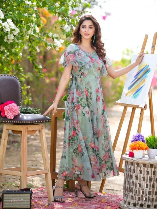 Chiffon With Cotton Lining  Fabrics Long Kurti In Multi Color