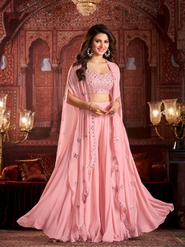 Geogratte  Party Wear  In Pink Color With Embroidery Work