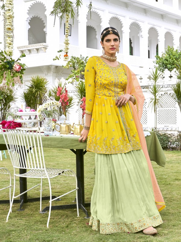 Pure Viscose georgette Party Wear Top Skirt  in Yellow & Green  Color with  Embroidery Work