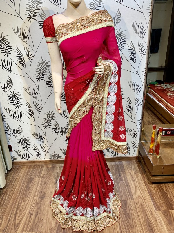 Pure Georgette Wedding Wear Saree In Pink With Crystals Stone Work