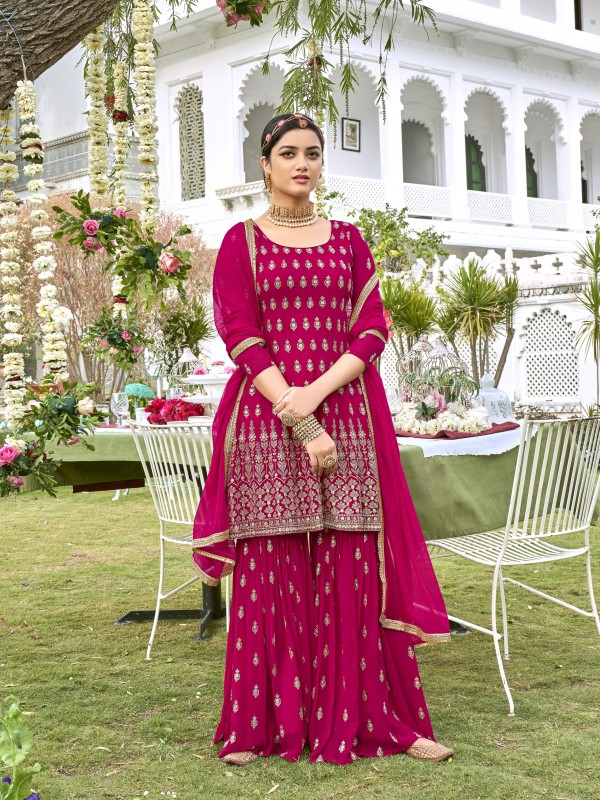 Pure Viscose georgette Party Wear Sharara  in Pink Color with  Embroidery Work