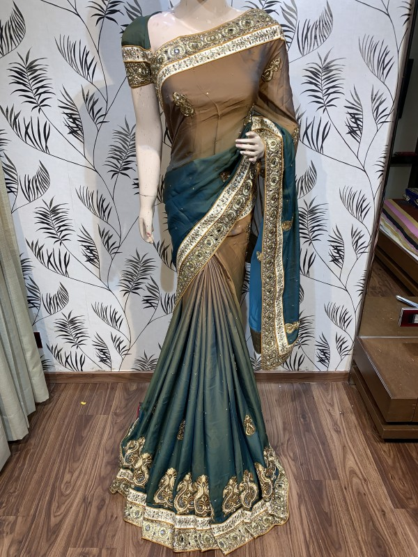 Pure Shadow Silk Party Wear Saree In Brown WIth Embroidery Work & Crystal Stone work
