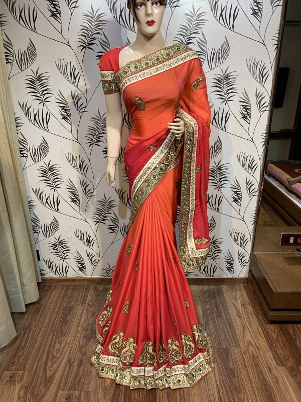 Pure Shadow Silk Party Wear Saree In Orange WIth Embroidery Work & Crystal Stone work