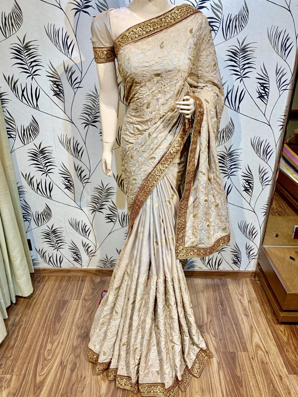 Metallic Silk Party Wear Saree In pink WIth Embroidery Work & Crystal Stone work