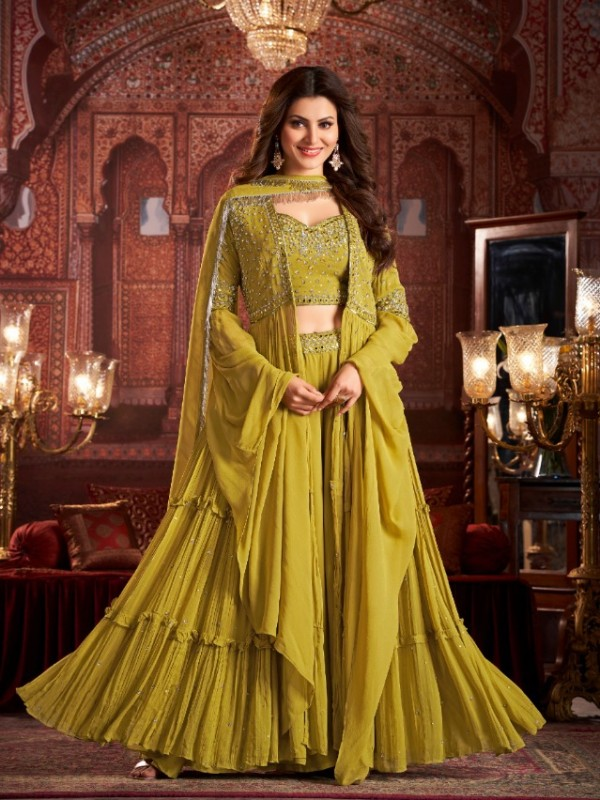 Geogratte  Party Wear  In Mustard Color With Embroidery Work