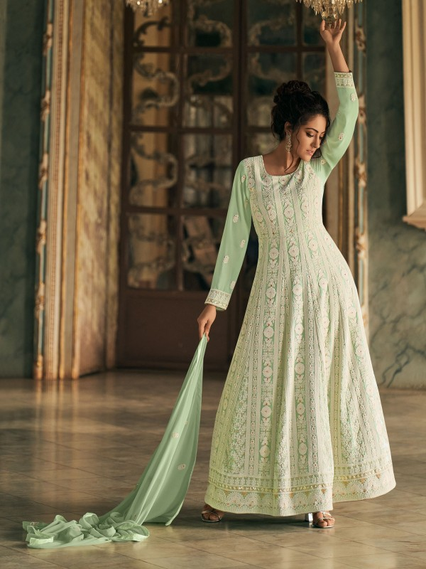 Heavy Real Georgette Party Wear  Gown In Green Color With Luckhnwi work