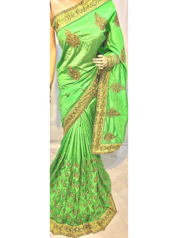 Pure Silk Party Wear Saree In Light Green With Embroidery Work