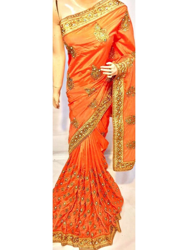 Pure Silk Party Wear Saree In Orange With Embroidery Work