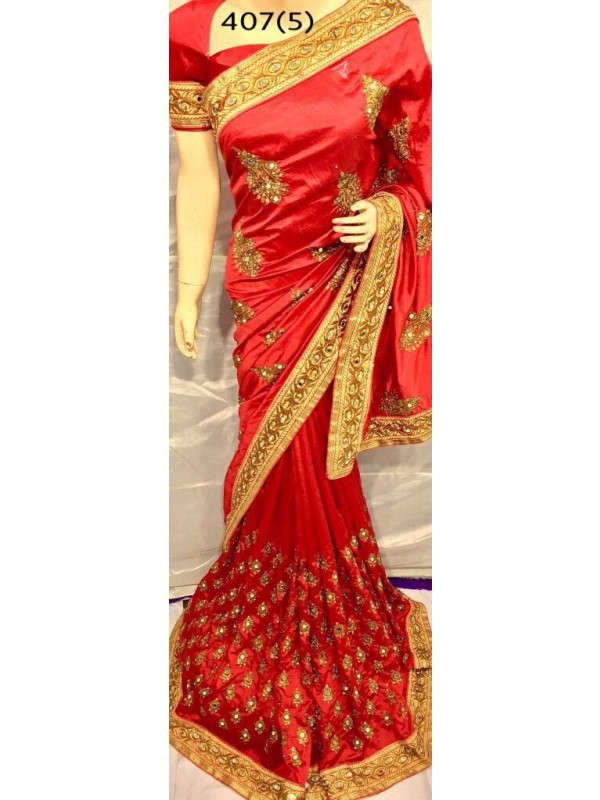 Pure Silk Party Wear Saree In Red With Embroidery Work