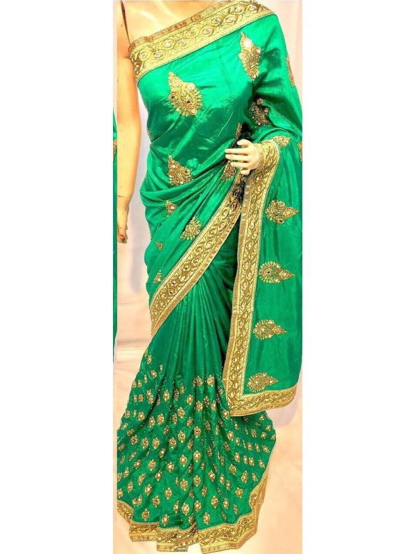 Pure Silk Party Wear Saree In Green With Embroidery Work