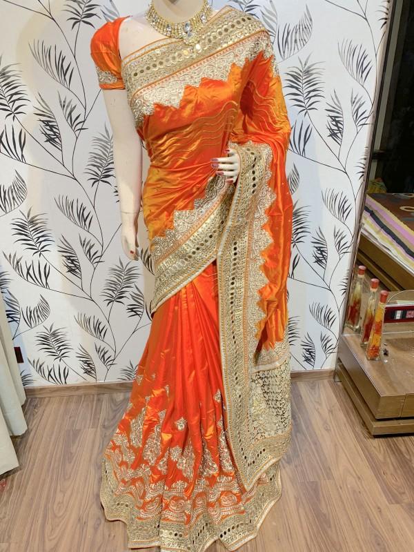 Model Silk Wedding Wear Saree In Orange WIth Embroidery Work & Crystal Stone work