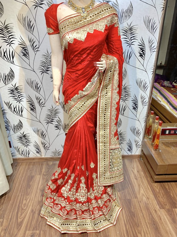 Model Silk Wedding Wear Saree In Red WIth Embroidery Work & Crystal Stone work