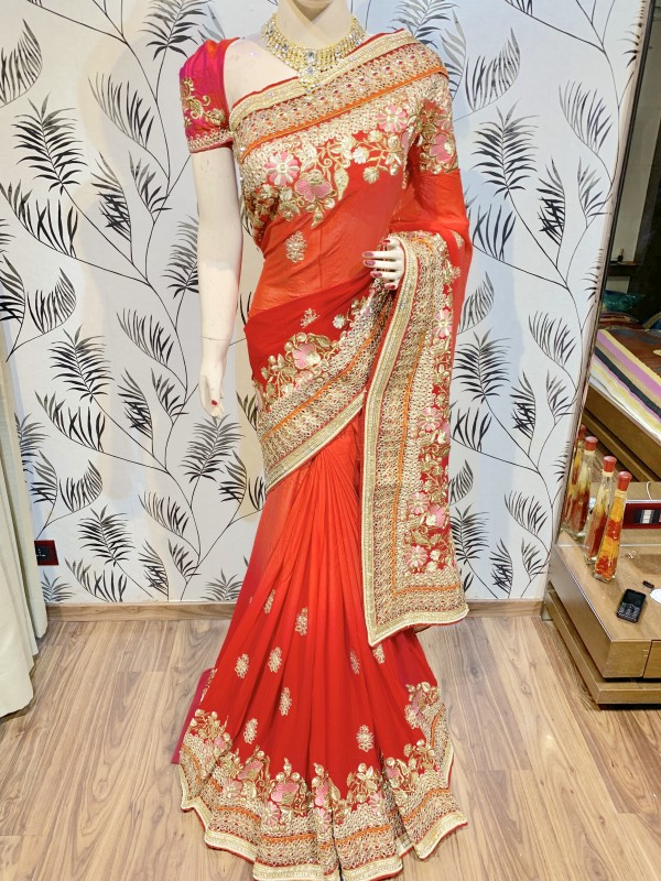 Pure Georgette Wedding Wear Saree In Red WIth Embroidery Work & Crystal Stone work