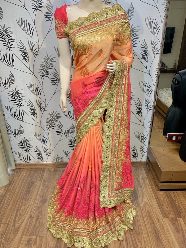 Pure Chiffon Wedding Wear Saree In Orange WIth Embroidery Work & Crystal Stone work