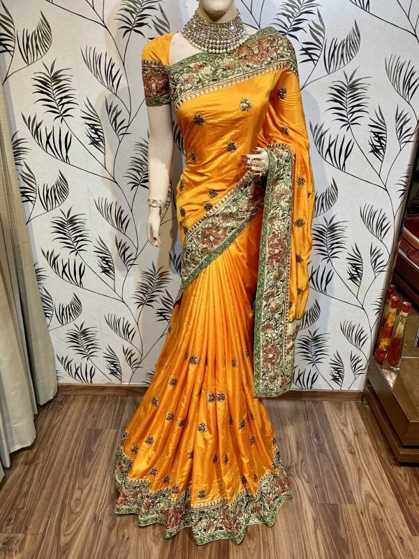 Heritage Silk Wedding Wear Saree In Yellow With Crystal Stone Work