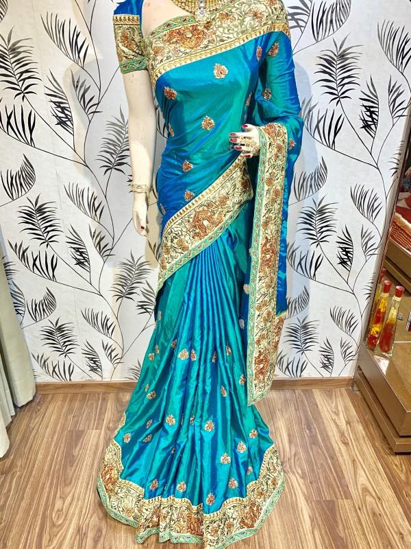 Heritage Silk Wedding Wear Saree In Sky Blue With Crystal Stone Work