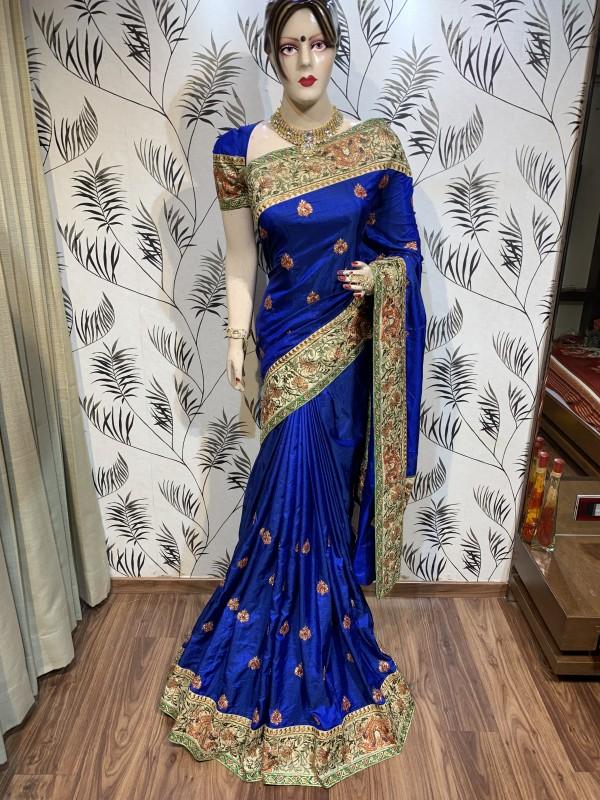 Heritage Silk Wedding Wear Saree In Blue With Crystal Stone Work