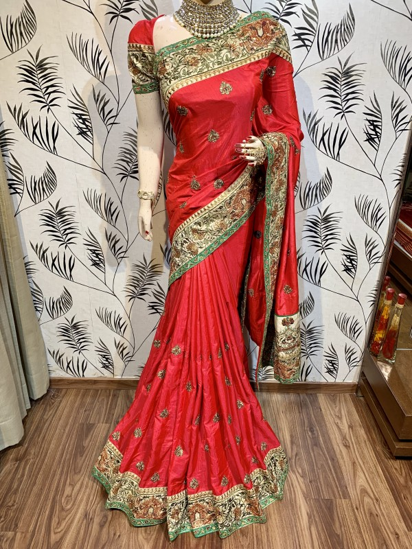 Heritage Silk Wedding Wear Saree In Red With Crystal Stone Work