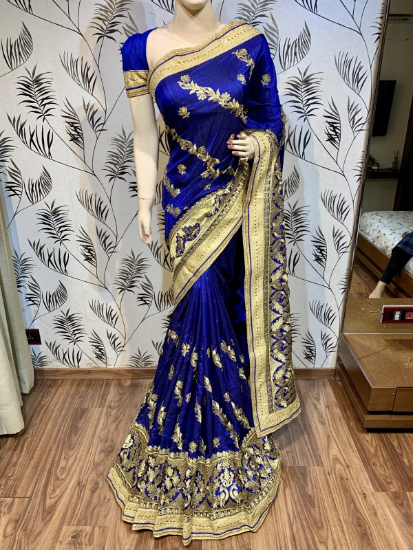 Nylon Silk Party Wear Saree In Blue With Embroidery & Crystal Stone Work