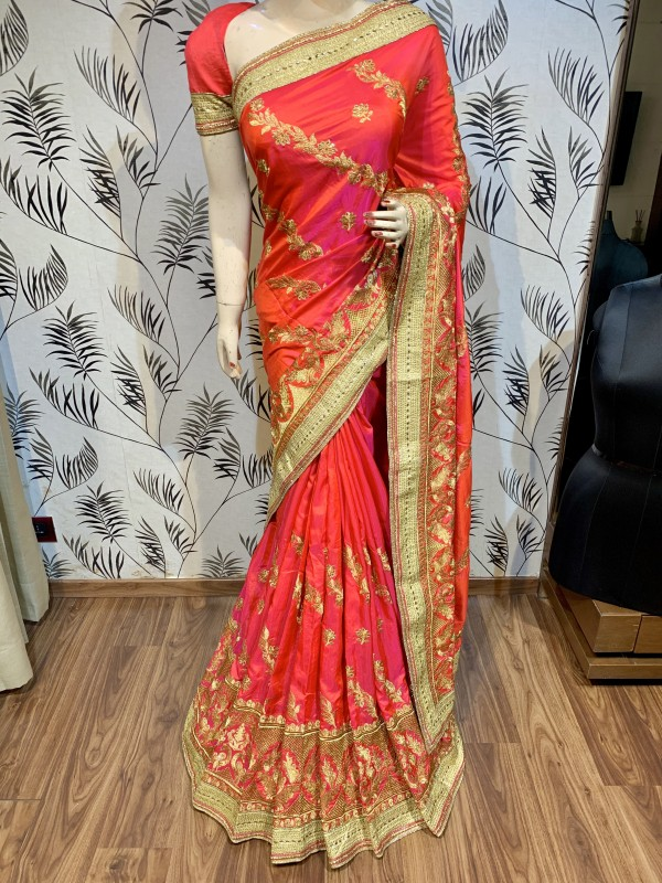 Nylon Silk Party Wear Saree In Pink With Embroidery & Crystal Stone Work