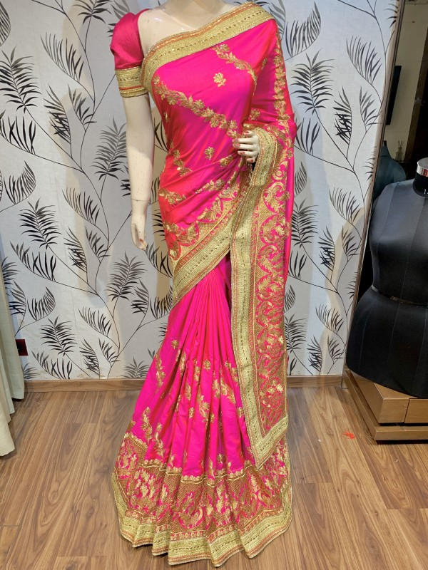 Nylon Silk Party Wear Saree In Rani With Embroidery & Crystal Stone Work