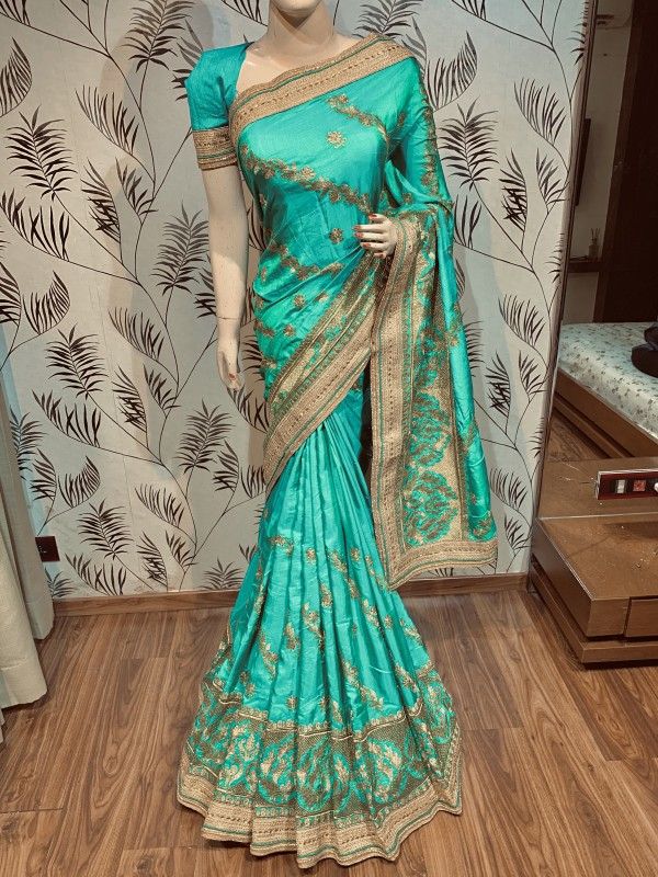 Nylon Silk Party Wear Saree In Green With Embroidery & Crystal Stone Work