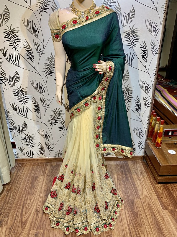 Model Silk Wedding Wear Saree In Green WIth Embroidery Work & Crystal Stone work