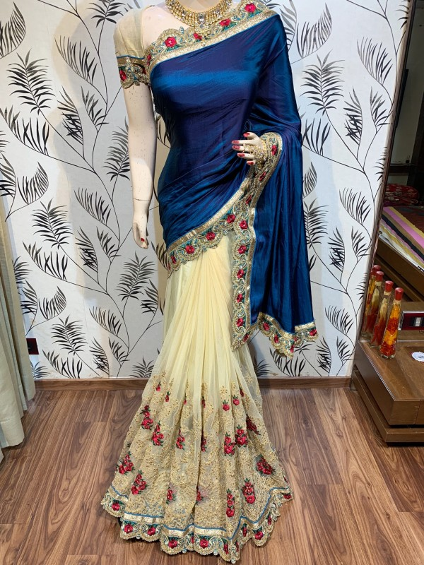 Model Silk Wedding Wear Saree In Blue WIth Embroidery Work & Crystal Stone work