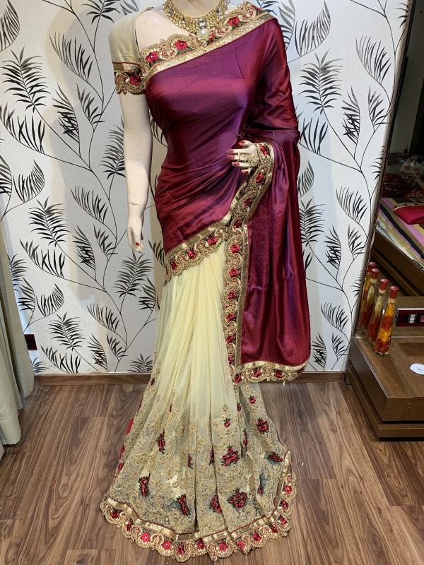 Model Silk Wedding Wear Saree In Maroon WIth Embroidery Work & Crystal Stone work