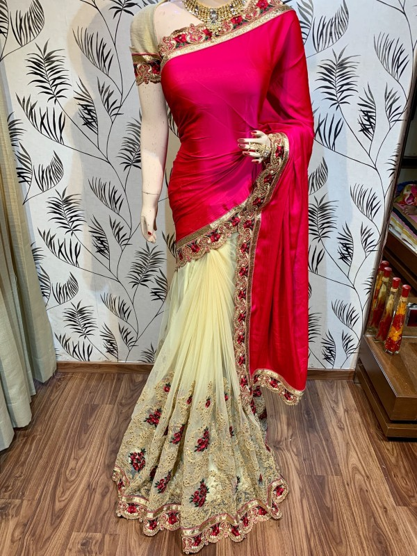 Model Silk Wedding Wear Saree In Pink WIth Embroidery Work & Crystal Stone work