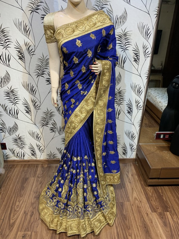 Pure Heritage Silk Wedding Wear Saree In Blue With Embroidery & Crystal Stone Work