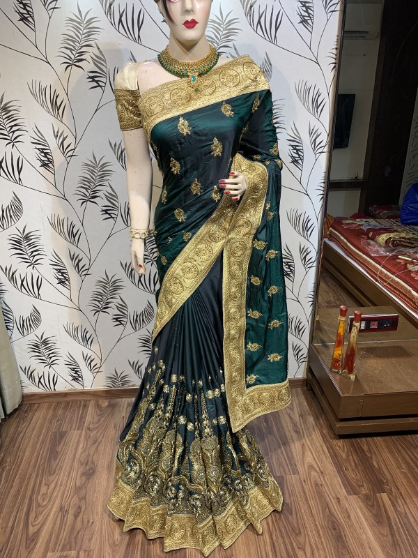 Pure Sateen Silk Wedding Wear Saree In Green WIth Embroidery Work & Crystal Stone work