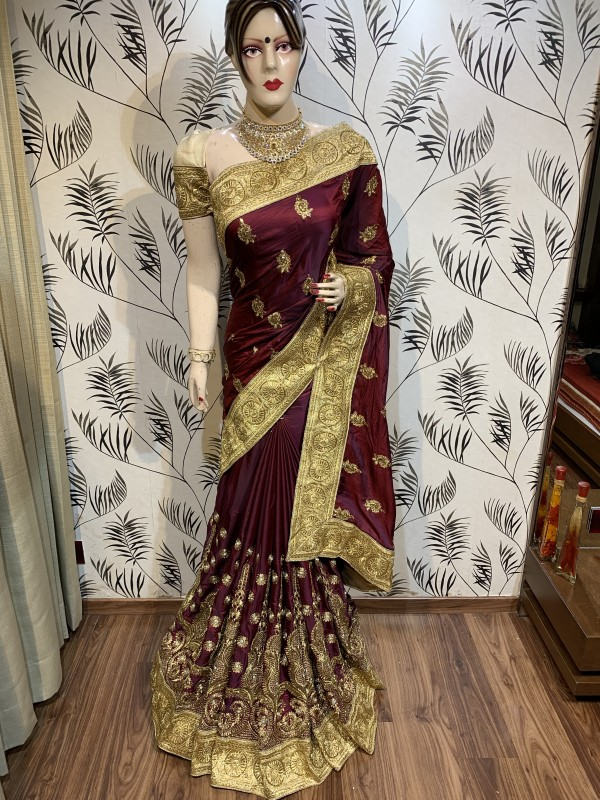 Pure Sateen Silk Wedding Wear Saree In Maroon WIth Embroidery Work & Crystal Stone work