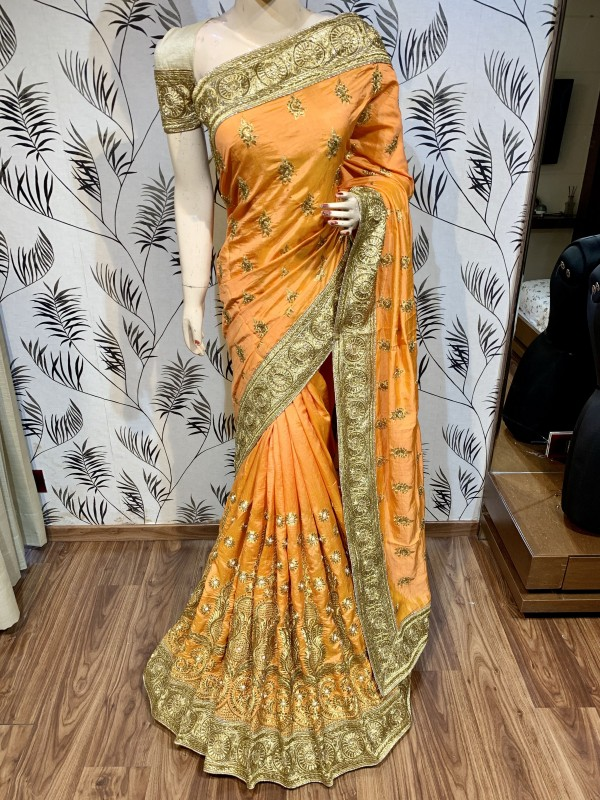 Pure Heritage Silk Wedding Wear Saree In Mustard With Embroidery & Crystal Stone Work